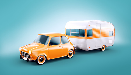 Retro car with white trailer. Unusual 3d illustration of a caravan. Camping and traveling concept Standard-Bild