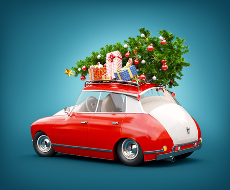 Unusual 3d illustration of a Red Santa's car with gift boxes and christmas tree on the top. Merry Christmas and a Happy New Year concept.
