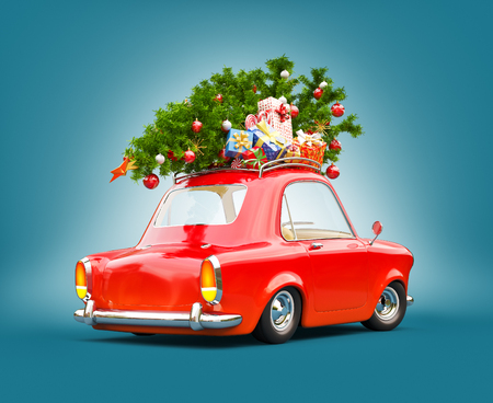 Unusual 3d illustration of a Red car with gift boxes and christmas tree on the top. Merry Christmas and a Happy New Year concept.