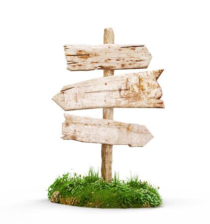 3D illustratie van een oude houten wijzer die op wit wordt geïsoleerd