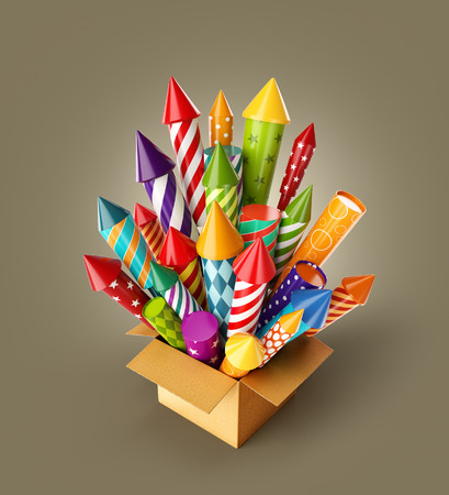 Unusual 3d illustration of bright colorful fireworks rockets in a box. Holidays and Christmas celebration concept.
