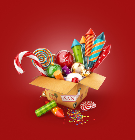 Unusual 3d illustration of a box full of christmas toys, candies and bright colorful fireworks rockets. Merry Christmas and a Happy New Year celebration concept. Stock Photo