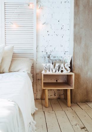 Closeup part of decorated christmas interior. Stock Photo