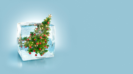Beautiful Decorated Christmas tree inside ice cube. Unusual 3d illustration. Christmas concept