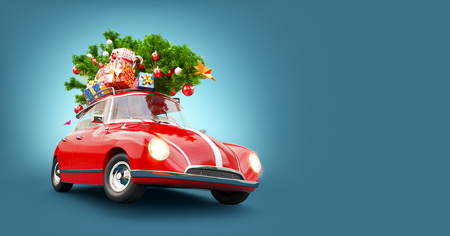 Unusual 3d illustration of a Red Santas car with gift boxes and christmas tree on the top. Merry Christmas and a Happy New Year concept. Stock Photo