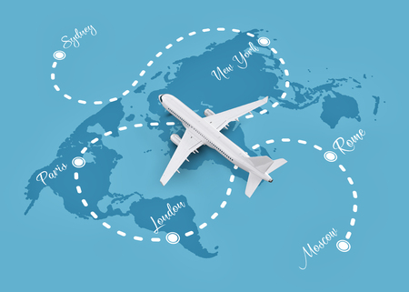 Worldwide flights and delivery concept. Traveling around the world by plane. Unusual 3d illustration Stock Photo