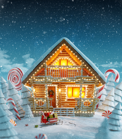 Amazing Decorated log house decorated at christmas of christmas lights in magical forest. Unusual christmas 3d illustration postcard