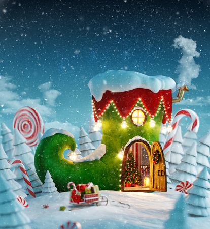 Amazing fairy house decorated at christmas in shape of elfs shoe with opened door and fireplace inside in magical forest. Unusual christmas 3d illustration postcard. Foto de archivo