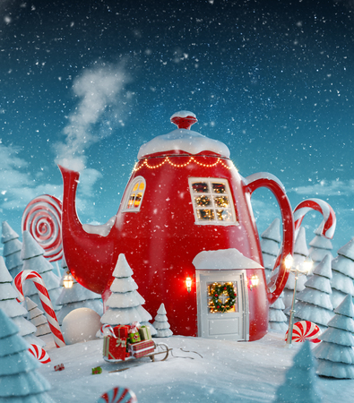 Amazing fairy house decorated at christmas in shape of kettle with christmas interior inside in magical forest. Unusual christmas 3d illustration postcard. Foto de archivo