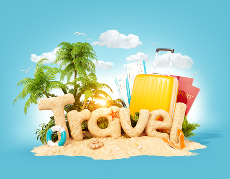 The word Travel made of sand on a tropical island. Unusual 3d illustration of summer vacation. Travel and vacation concept. Imagens