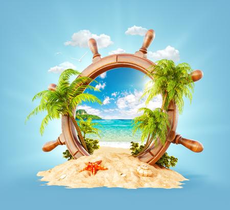 砂の上に木製の舵取りで手のひらとビーチと素晴らしい熱帯の風景。珍しい3Dイラスト。旅行と休暇のコンセプト。