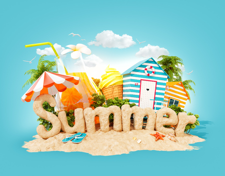 The word Summer made of sand on a tropical island. Unusual 3d illustration of summer vacation. Travel and vacation concept. Фото со стока