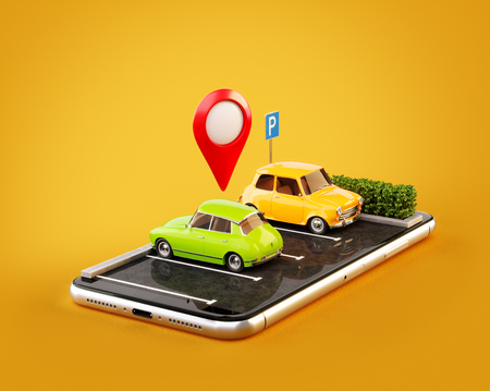 Unusual 3d illustration os smartphone application for online searching free parking place on the map. GPS Navigation. Parking and car sharing concept 免版税图像 - 96052232