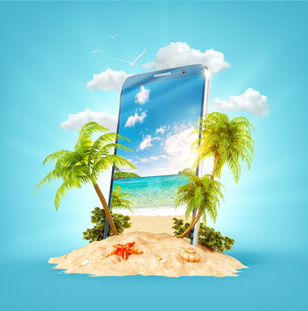 Wonderful tropical landscape with palms and beach on the screen of smartphone on sand. Unusual 3D illustration. Travel and vacation concept.