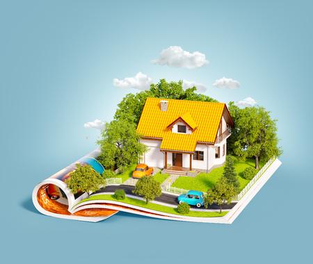 Weißes Traumhaus mit weißem Zaun, Garten und Bäumen auf geöffneten Seiten der Zeitschrift. Ungewöhnliche 3d illustration Reise- und Campingkonzept Standard-Bild