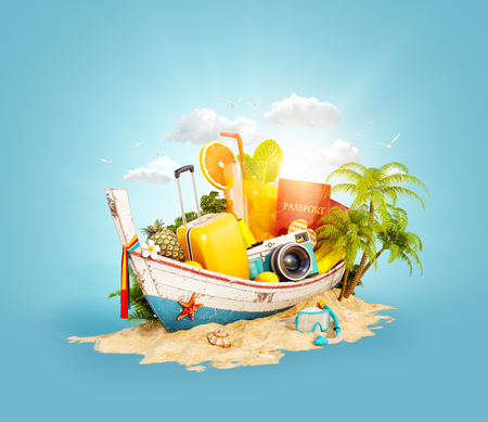 Beautiful Thai boat with suitcase, passport and camera inside on sand. Unusual 3d illustration. Travel and vacation concept.