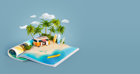 Camper van and surf boards on a sand beach of beautiful island on opened pages of magazine in summer day. Unusual 3d illustration. Travel and vacation concept