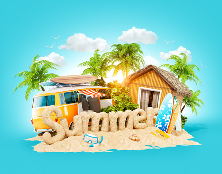 The word Summer made of sand on a tropical island. Unusual 3d illustration of summer vacation. Travel and vacation concept. Stock fotó