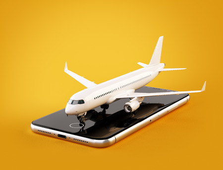 Smartphone application for online searching, buying and booking flights on the internet. Unusual 3D illustration of commercial airplane on smartphone 免版税图像 - 96122480