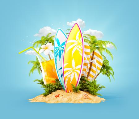 Tablas de surf en la isla paradisíaca con palmeras. Inusual viaje 3d ilustración. Concepto de vacaciones de verano