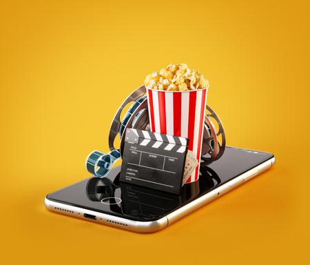 Smartphone-applicatie voor het online kopen en boeken van bioscoopkaartjes. Live films en video kijken. Ongebruikelijke 3D illustratie van popcorn, bioscoop reel, klepel bord en kaartjes op de smartphone in de hand