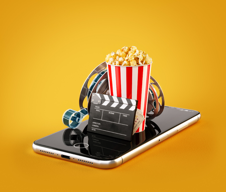 Smartphone application for online buying and booking cinema tickets. Live watching movies and video. Unusual 3D illustration of popcorn, cinema reel, clapper board and tickets on smarthone in hand Zdjęcie Seryjne - 96052070