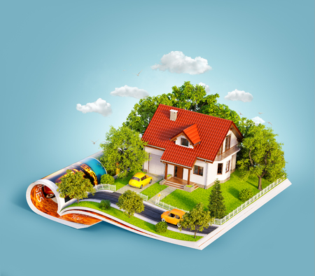 Casa bianca del sogno con recinzione bianca, giardino e alberi sulle pagine aperte della rivista. Insolita illustrazione 3d. Concetto di viaggio e campeggio