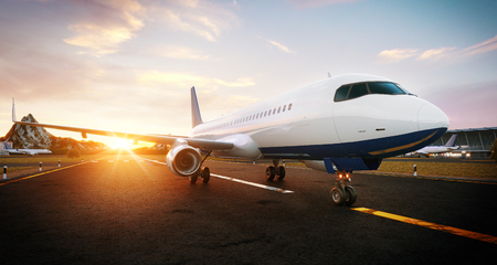 White commercial airplane standing on the airport runway at sunset. Passenger airplane is taking off. Airplane concept 3D illustration. Reklamní fotografie