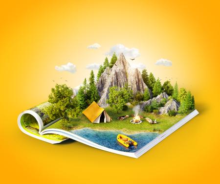 Montagne en forêt, pré vert et tente de camp près d'un lac sur les pages ouvertes du magazine. Illustration 3d inhabituelle. Concept de voyage et de camping Banque d'images - 96079548