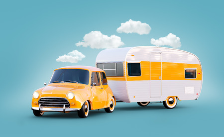 Retro car with white trailer. Unusual 3d illustration of a caravan. Camping and traveling concept