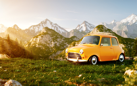 Cute little retro car on grass field at mountain in summer day. Unusual 3d illustration of mountain landscape with fog. Stock Photo