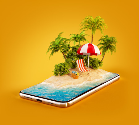 Unusual 3d illustration of a tropical island with palm trees, deckchair and umbrella on a smartphone screen. Travel and vacation concept Imagens