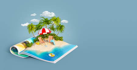 Deck chairs under the beach umbrella on a sand beach of beautiful island on opened pages of magazine in summer day. Unusual 3d illustration. Travel and vacation concept Фото со стока - 103268602