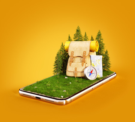 Touristic backpack with map and compass on grass field on a smartphone screen. Travel and vacation concept