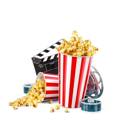 Popcorn, cinema reel, disposable cup, clapper board and tickets isolated on white. Concept cinema theater 3D illustration. Banco de Imagens - 97926551