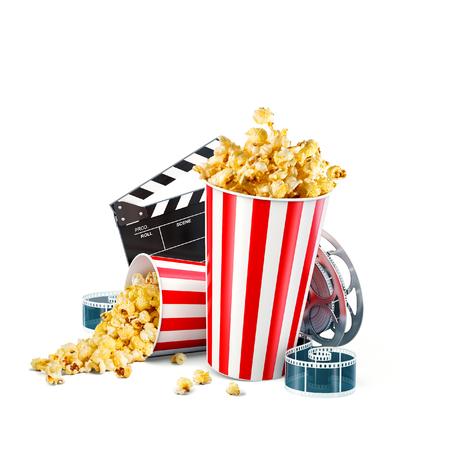 Popcorn, Filmrolle, Wegwerfschale, Scharnierventilbrett und Karten lokalisiert auf Weiß. Illustration des Konzeptkino-Theaters 3D.