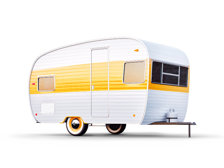 Retro car with white trailer. Unusual 3d illustration of a caravan. Camping and traveling concept 스톡 콘텐츠