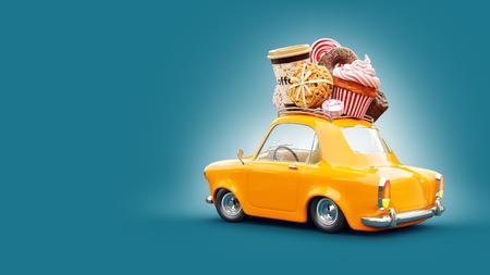 Nettes fantastisches Retro-Auto mit Süßigkeiten und Kaffee an der Spitze. Illustration des Gebäckkonzeptes 3d.