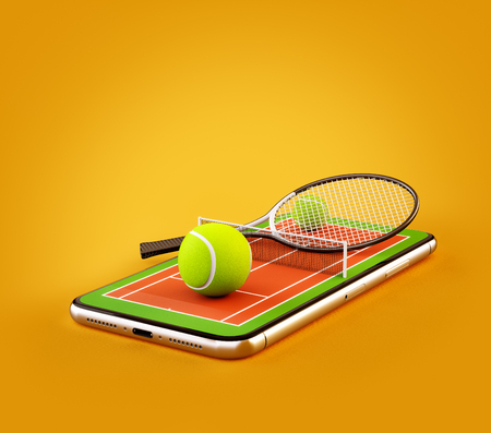 Unusual 3d illustration of a tennis ball and racket on court on a smartphone screen. Watching tennis and betting online concept Stock Photo