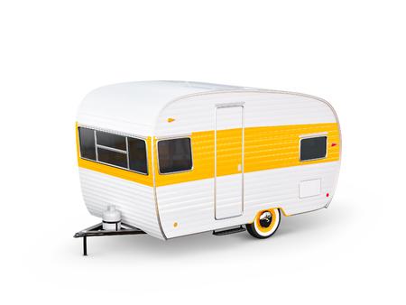 白いトレーラーが付くレトロな車。キャラバンの珍しい3Dイラスト。キャンプと旅行のコンセプト