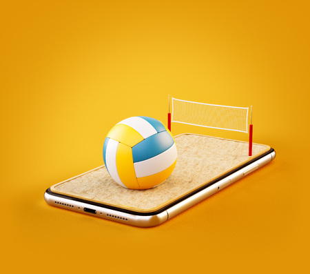 Ungewöhnliche Illustration 3d eines Volleyballballs und auf Gericht auf einem Smartphoneschirm. Aufpassender Beachvolleyball und Online-Wetten-Konzept