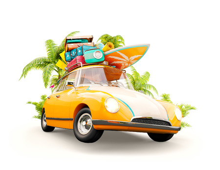 Funny retro car with surfboard, suitcases and palms. Unusual summer travel 3d illustration. Summer vacation concept isolated on white Stockfoto
