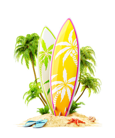 Surf boards on paradise island with palms. Unusual travel 3d illustration isolated on white. Summer vacation concept