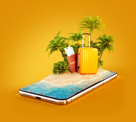 Unusual 3d illustration of a tropical island with palm trees, suitcase and passport on a smartphone screen. Travel and vacation concept Stock Photo