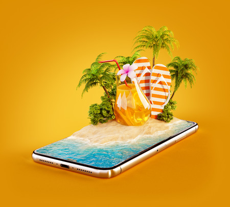 Unusual 3d illustration of a tropical island with palm trees, fresh juice and flip-flops on a smartphone screen. Travel and vacation concept Stock Photo