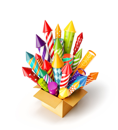 Unusual 3d illustration of bright colorful fireworks rockets in a box. Holidays and Christmas celebration concept. Isolated on white