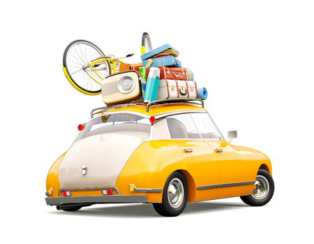 Funny retro car with laggage, suitcases and bicycle. Unusual summer travel 3d illustration. Summer vacation concept isolated on white Stockfoto