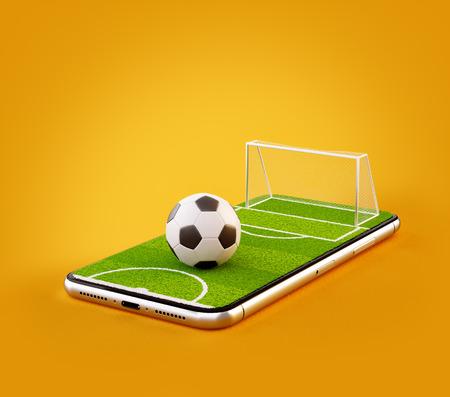 Ongebruikelijke 3D-afbeelding van een voetbalveld en voetbal op een smartphone-scherm. Voetbal kijken en online concept wedden Stockfoto