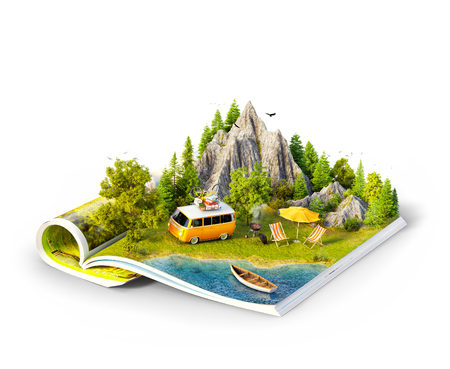 Mountain, forest, green meadow and car near a lake on opened pages of magazine. Isolated unusual 3d illustration. Travel and camping concept. Family picnic
