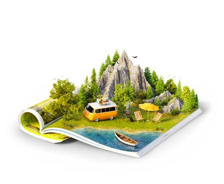 Montaña, bosque, prado verde y coche cerca de un lago en las páginas abiertas de la revista. Ilustración 3d inusual aislado. Concepto de viaje y camping. Picnic familiar